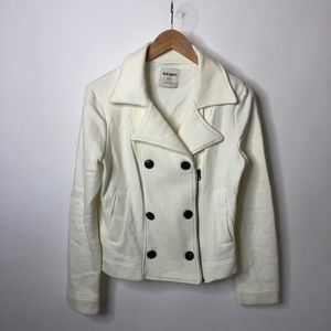 Old Navy White Cotton Moto Cozy Zip-up Jacket Coat